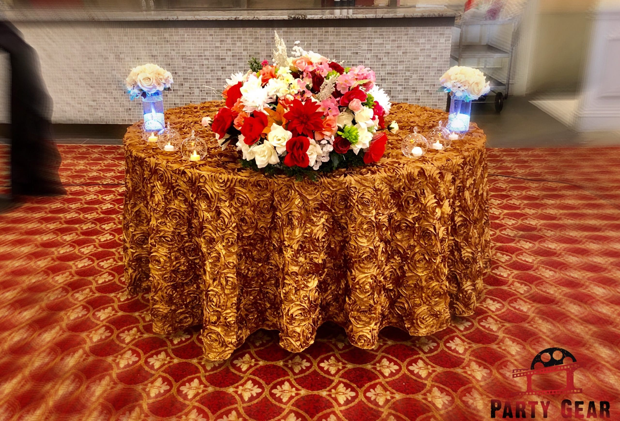 hall decoration with table cover and flower ball